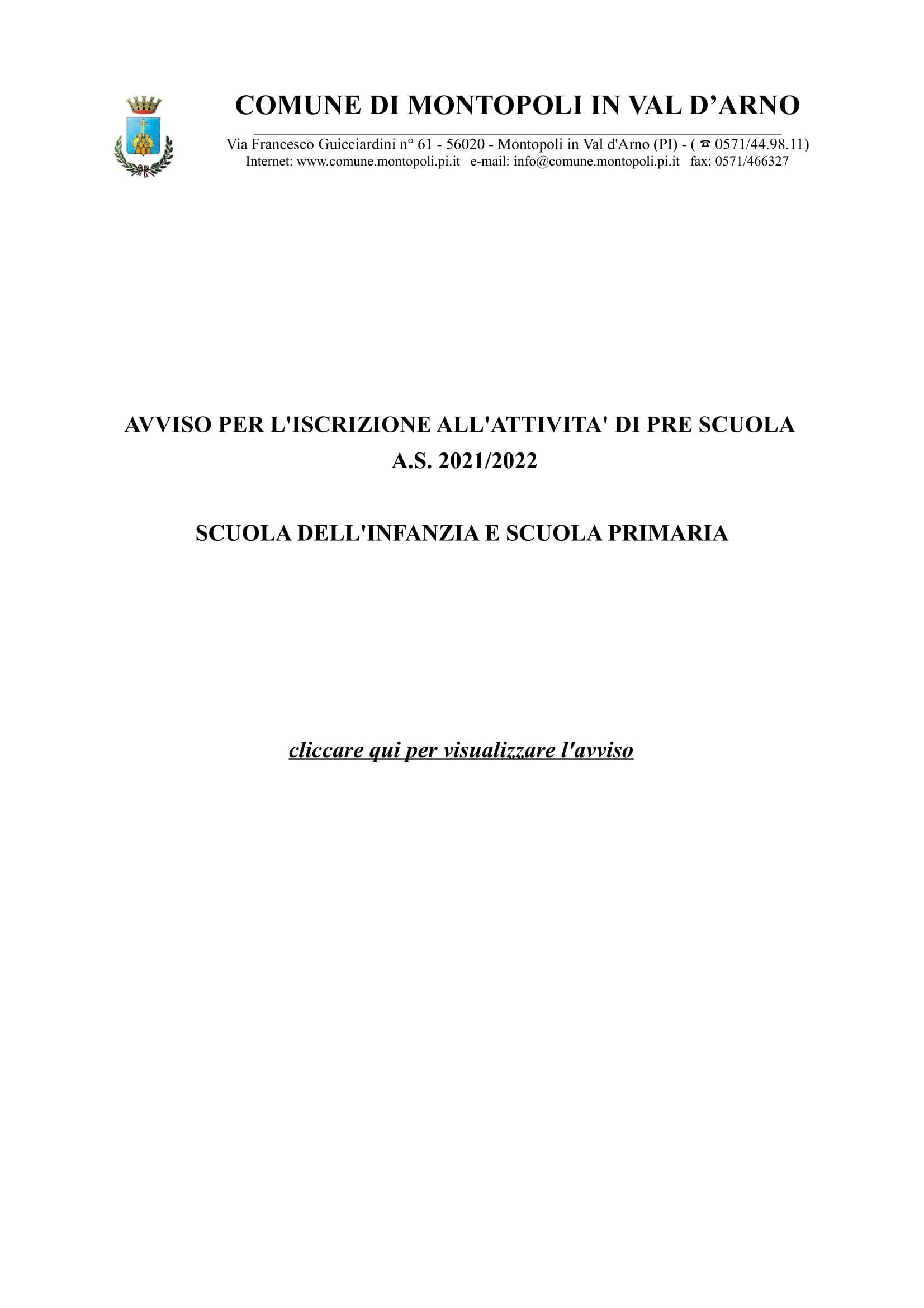 AVVISO PER L'ISCRIZIONE ALL'ATTIVITA' DI PRE SCUOLA