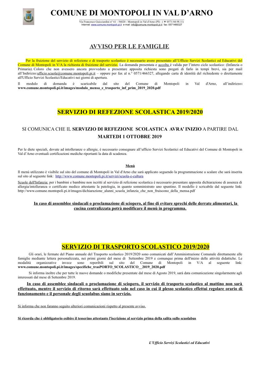 REFEZIONE E TRASPORTO SCOLASTICO 2019/2020